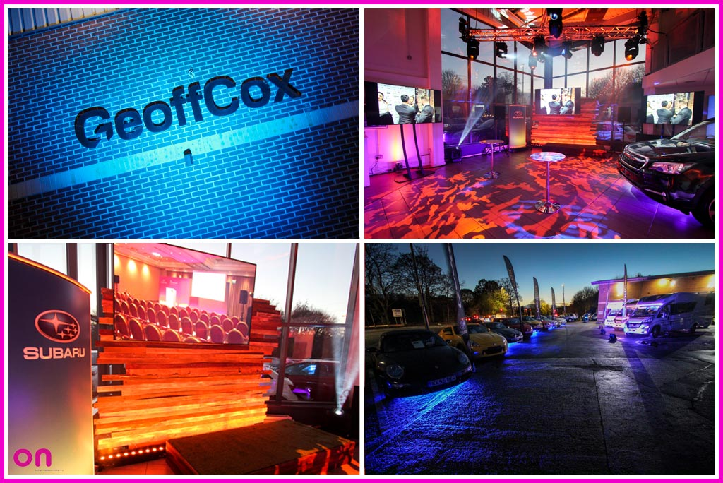 On Event Production Co. provide full technical production for Marketing Derby bondholder Geoff Cox Motors showroom event