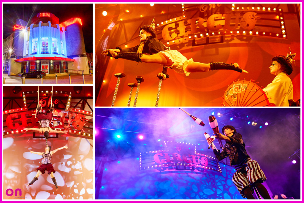 Technical Production for circus themed Christmas parties @ Athena Leicester - On Event Production Co.